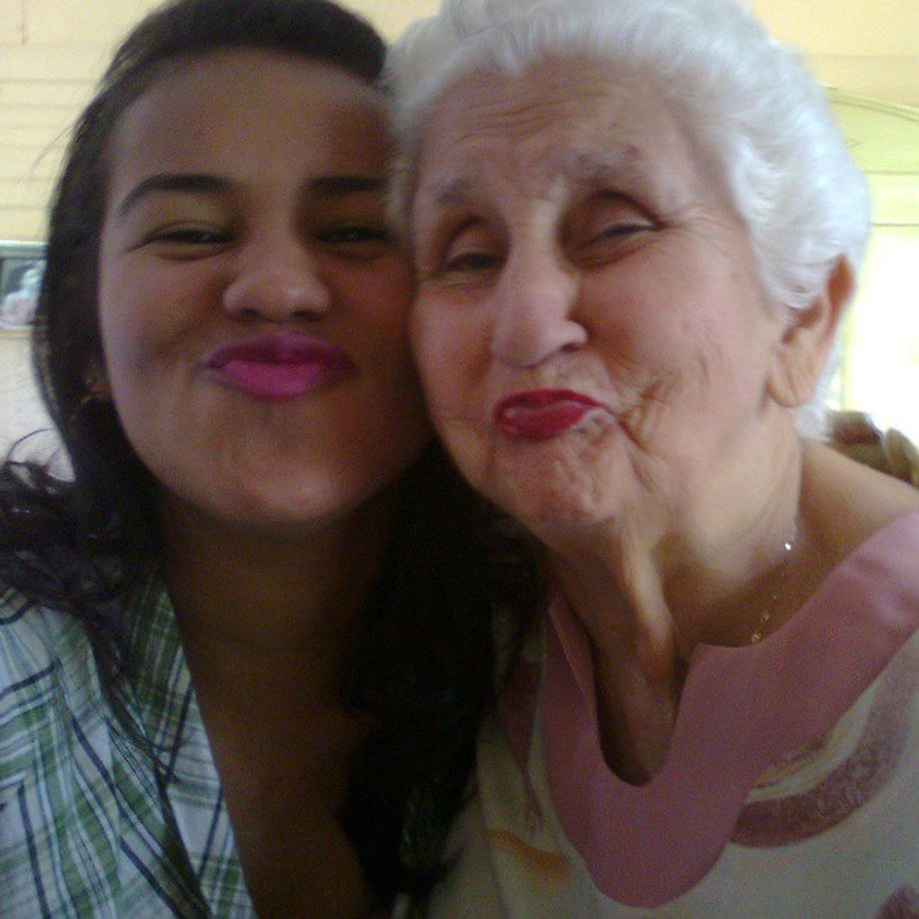 Me and grandma being cool rocking the duck face HAHAHA gotta love her <3 TBT  Grandma Wecool Rockingit throwbackthursday oldphoto laamo tanbella abuela