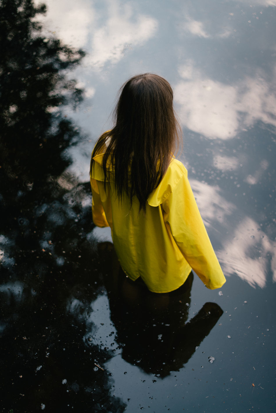 Child Childhood Children Only Day Girls One Girl Only One Person Outdoors People Rear View Yellow Fresh On Market 2017