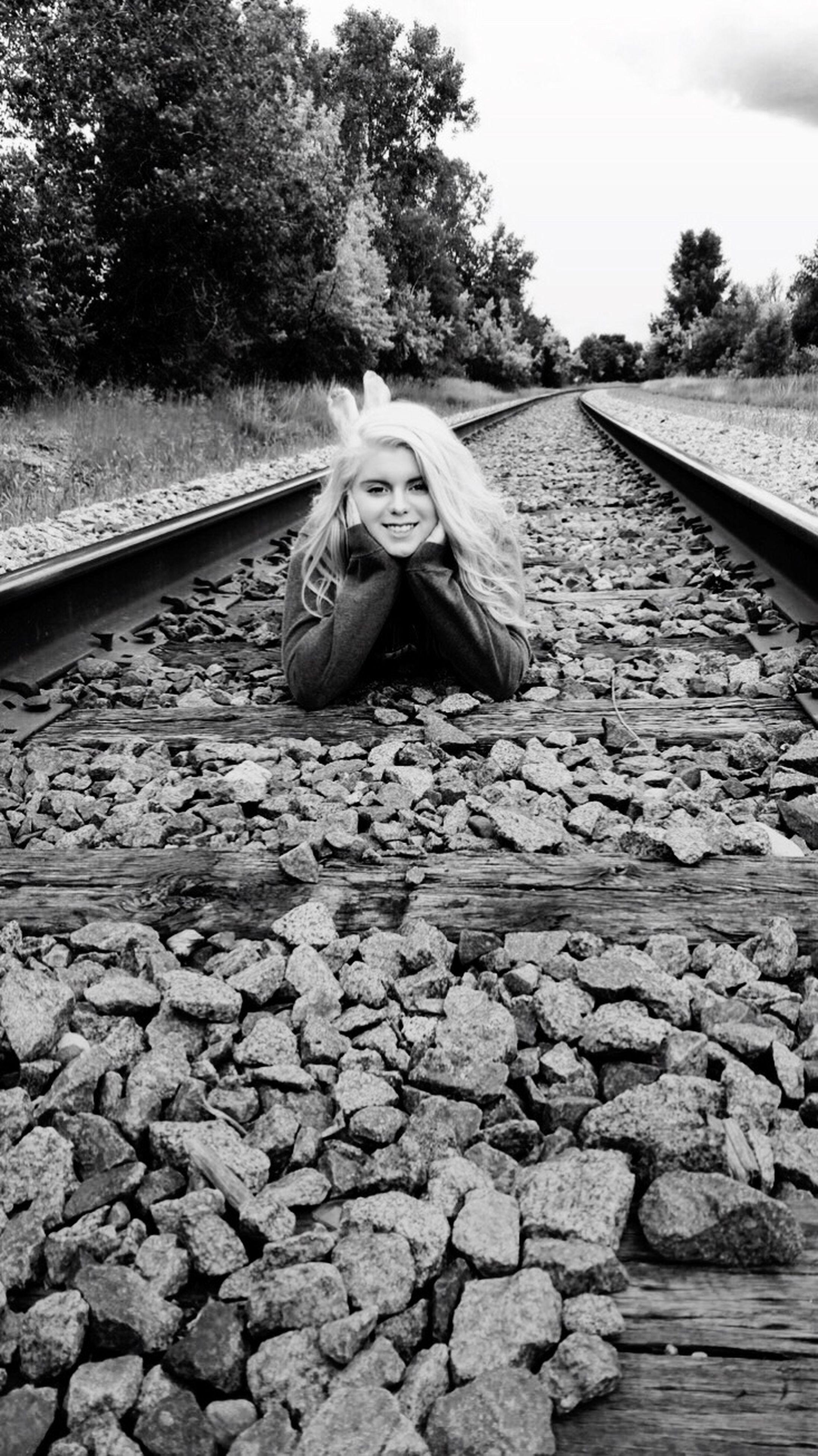 railroad track, transportation, rail transportation, mammal, day, animal themes, one animal, nature, no people, domestic animals, tree, outdoors, sky