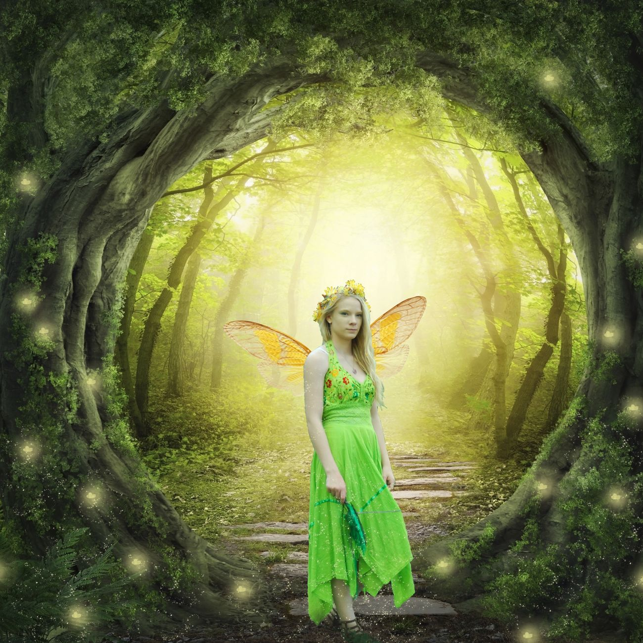 Composite Fairy Sparkles Fireflies Magical Green Yellow Wings Blonde