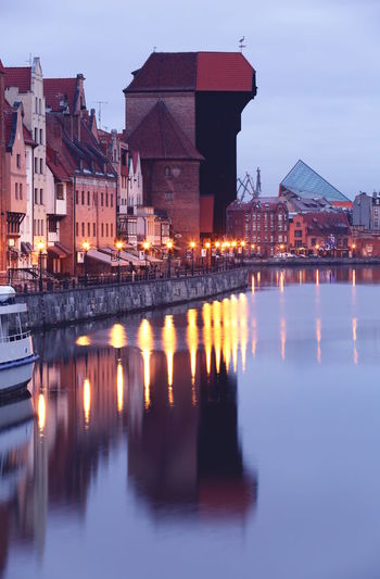 Autumn Lights Mirrored Morning Old Town Poster Riverside Winter Architecture Building Building Exterior Buildings Built Structure City Crane Dust Evening Gdansk Illuminated Motława Night No People Old Outdoors Reflection River Sky Travel Destinations Water Waterfront