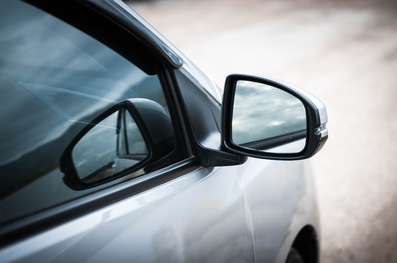 Close-Up Of Rear View Mirror