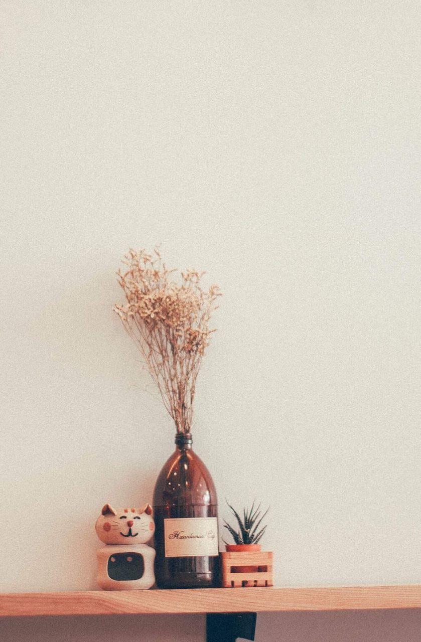 vase, table, indoors, flower, shelf, no people, desk organizer, day