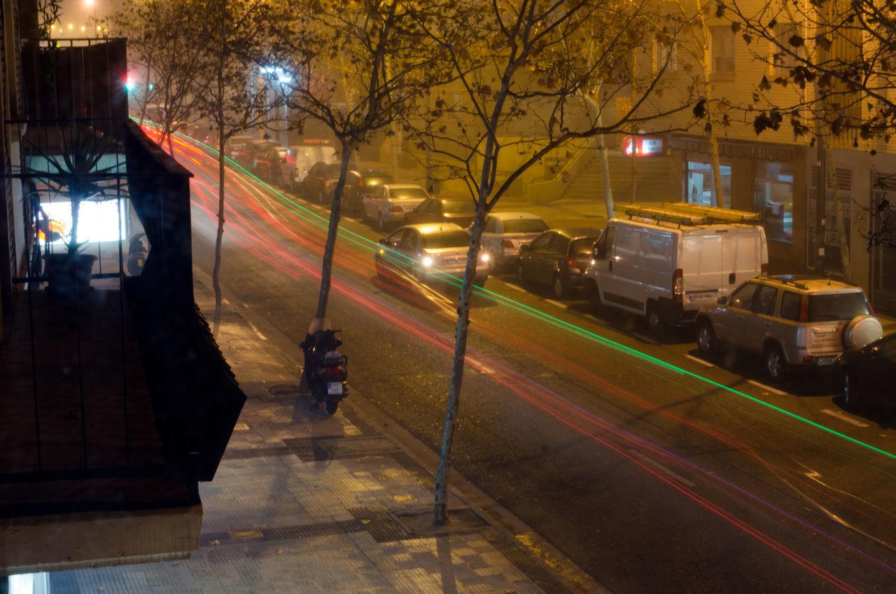 Luces de vehículos 2015  Architecture Camera Effects City Eddl Illuminated Night No People Outdoors Transportation Zaragoza