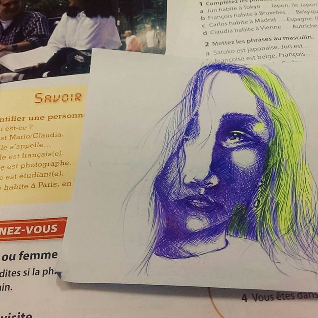 Little relax on little paper in class -_- Idecaf Hand Drawing Relaxing Enjoying Life Sketch The Tree Academy Portrait Studying At School Class