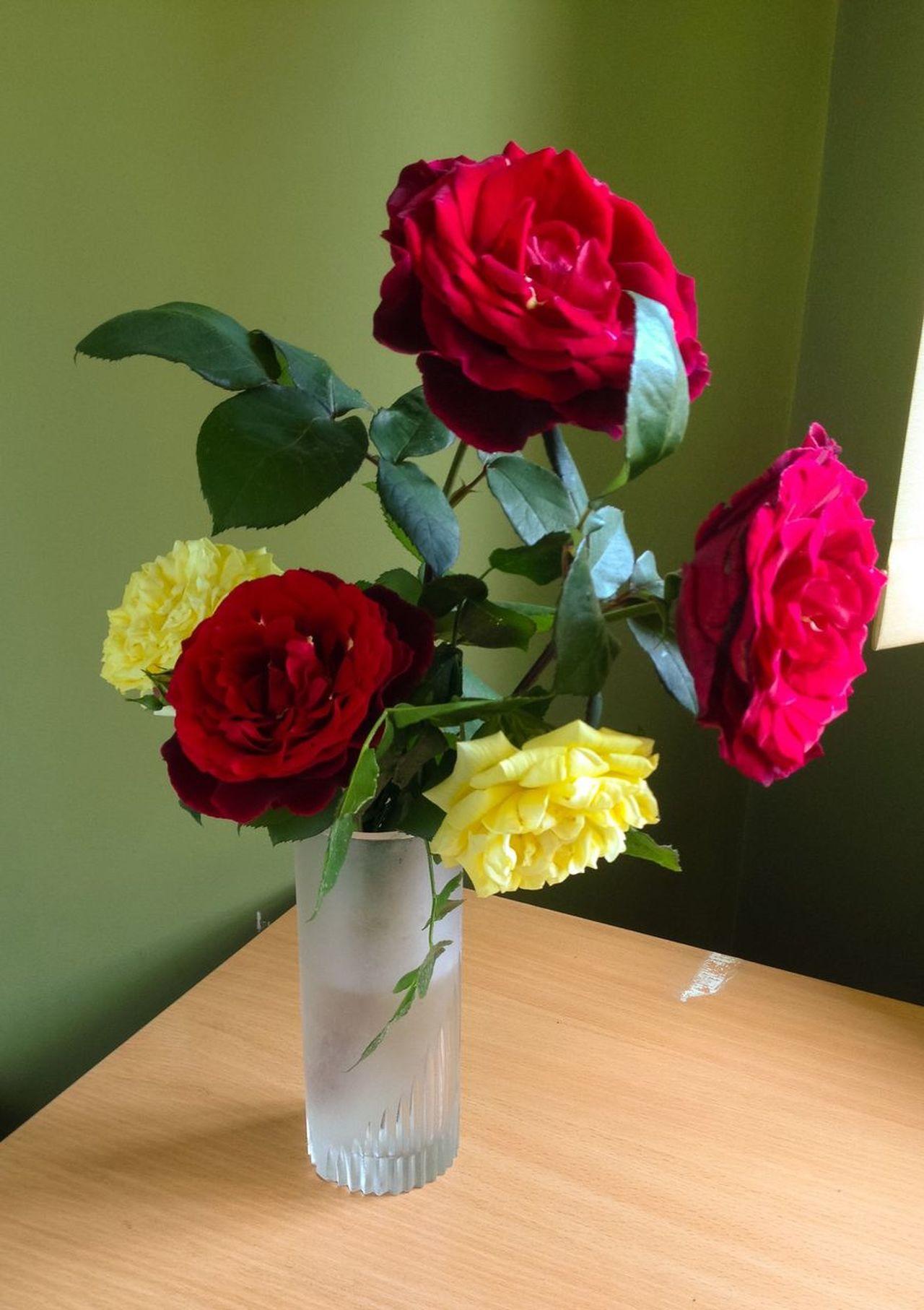 Roses Vase Bouquet Of Roses Bouquet Flowers Yellow Roses Red Roses Red Rose♥ Roses Blossom