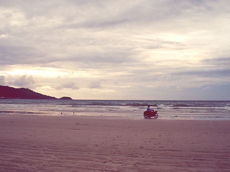 Beach Photography Sand&sea Motercycle Man On Bike Clouds And Sky Waves Landcape Breaking Waves Calmness Tranquility