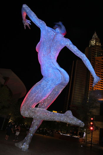 Bluelights Las Vegas Newyorknewyorkhotel Night Outdoors Pinklights Sculpture Woman Statue