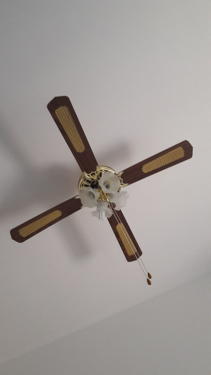 ceiling fan, low angle view, ceiling, indoors, no people, electricity, electric fan, close-up