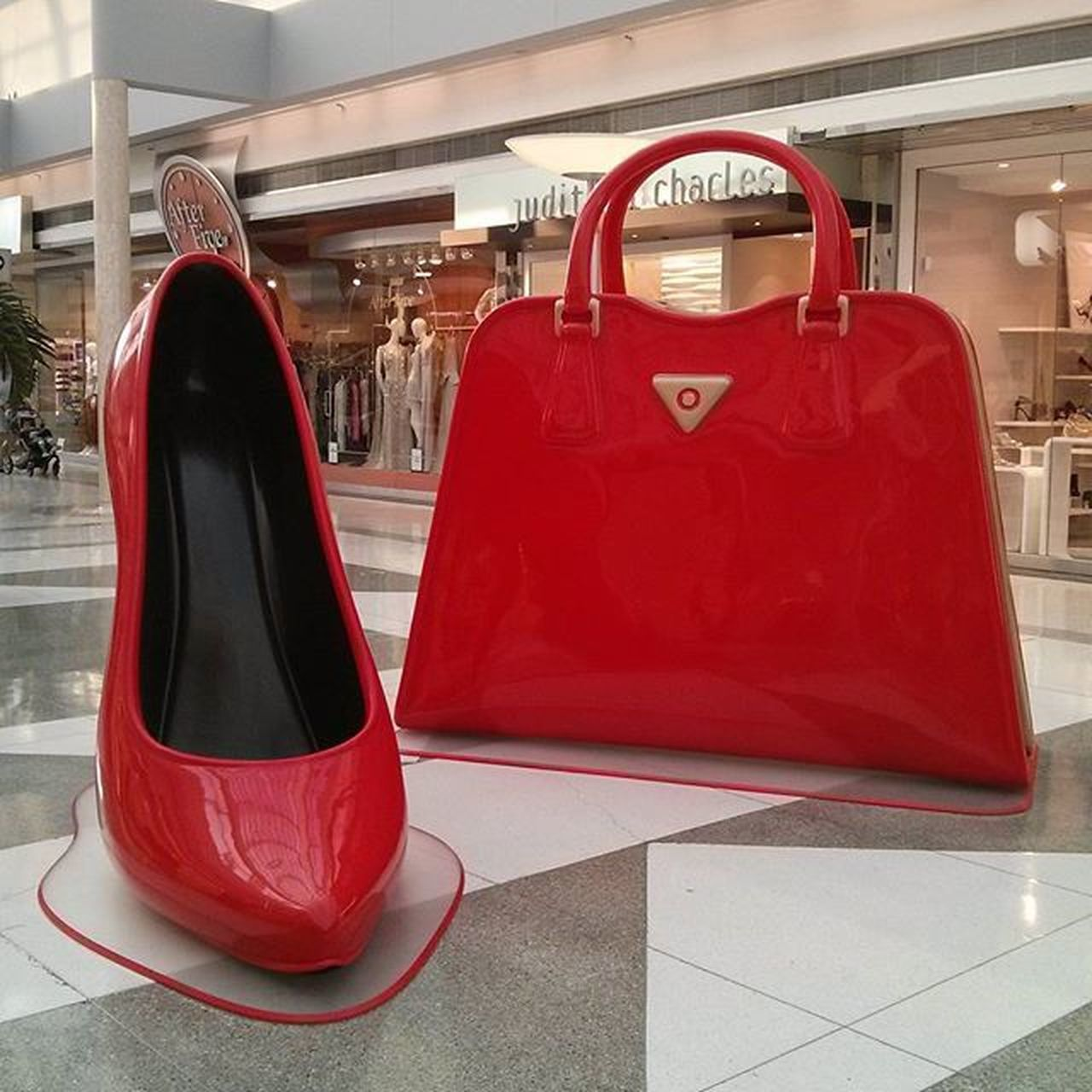 Purses and shoes, every girl's first loves! Found these huge displays in the middle of the mall today. For a good cause to Dress for Success Vancouver Dressoakridge Youtube Youtuber FashionablyAmy luxury fashion handbags shoes luxuryitem