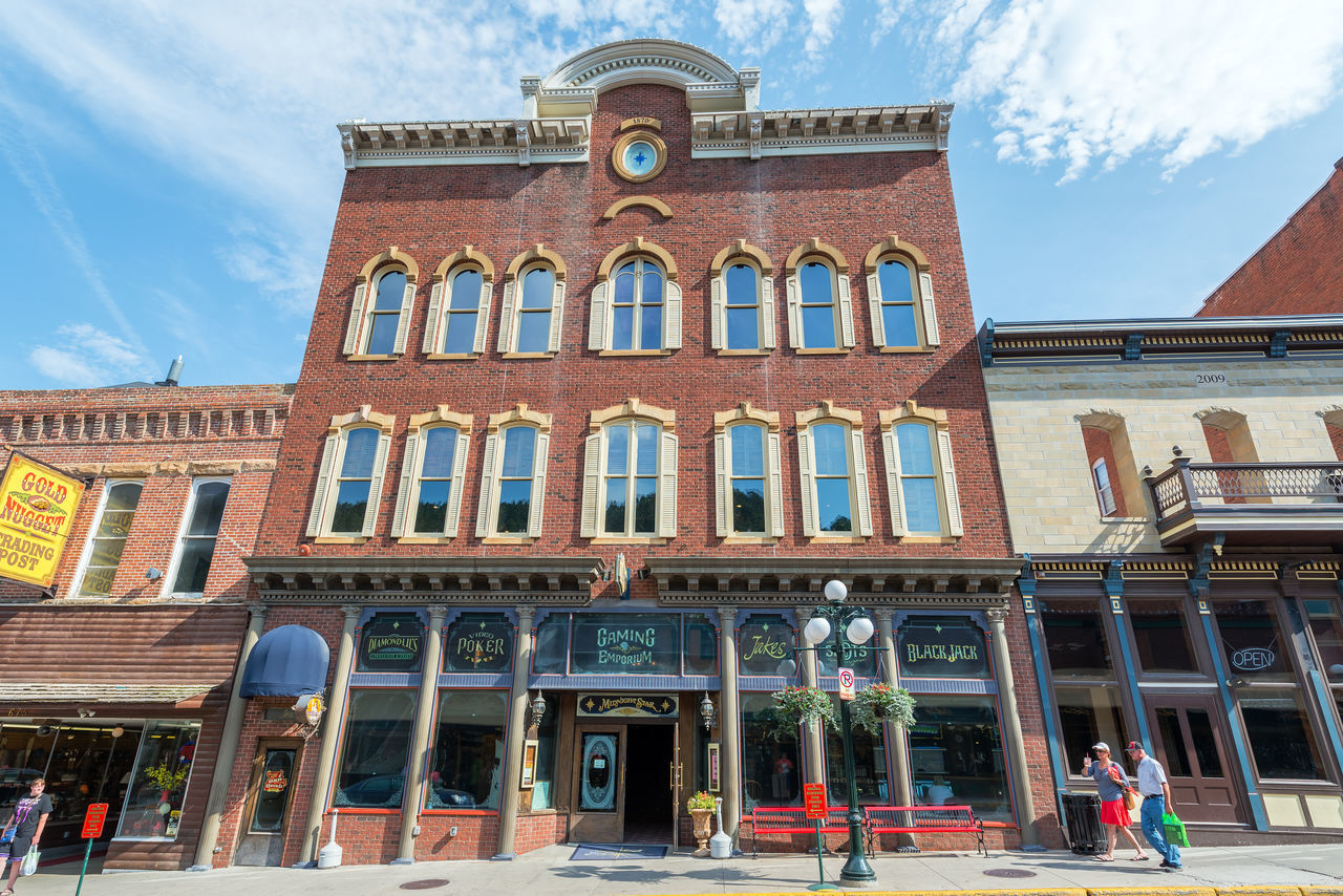 DEADWOOD, SD - AUGUST 26: Facade of a casino in Deadwood, SD on August 26, 2015 Architecture Bar Black Hills Brick Building Exterior Casino Deadwood  Downtown Historic Hotel Old West  Restaurant South Dakota Tavern  Tourism Tourists Town Travel Travel Destinations USA Western Wild West