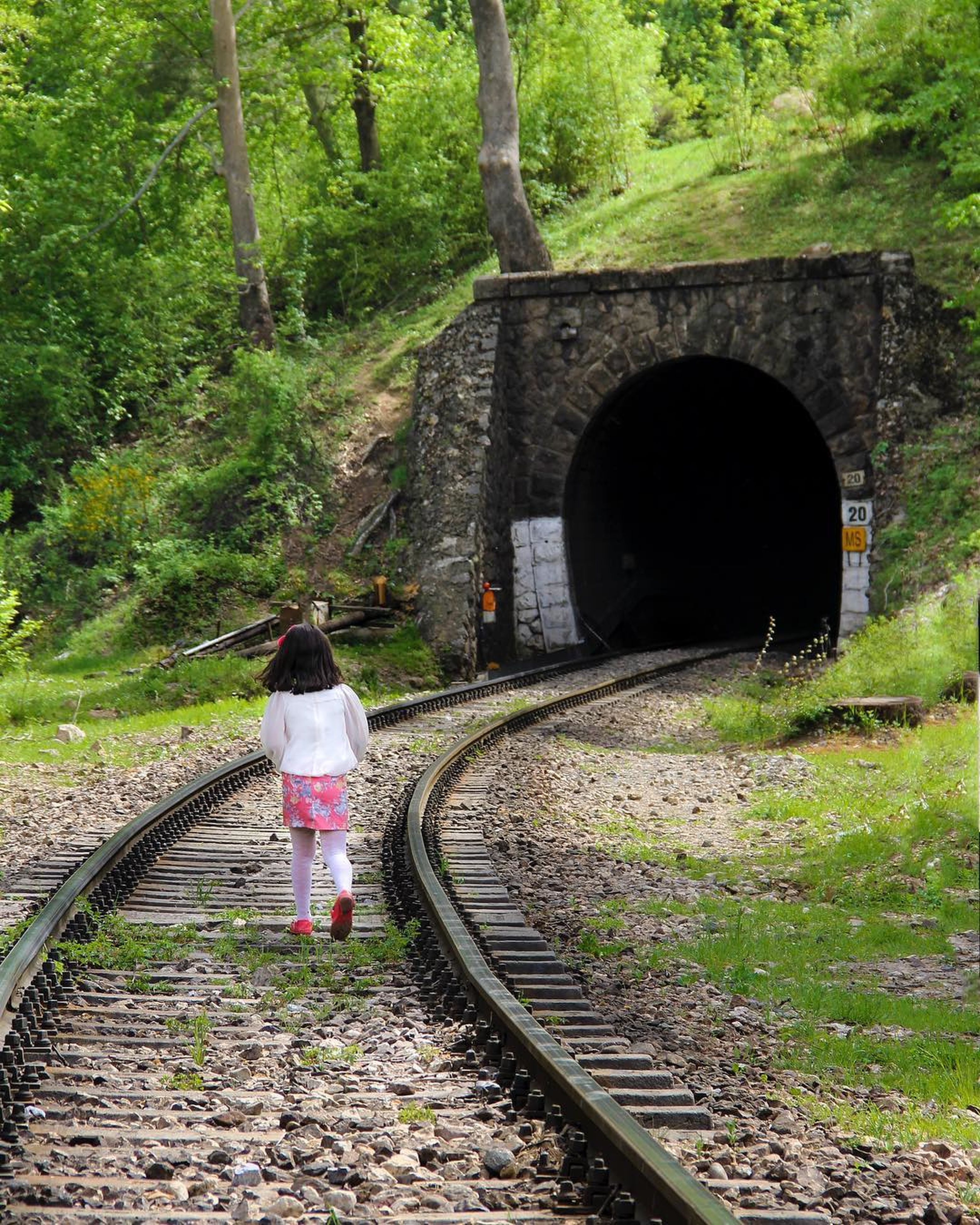 railroad track, transportation, rail transportation, full length, rear view, bridge - man made structure, standing, one person, tree, walking, day, nature, outdoors, adult, people, adults only