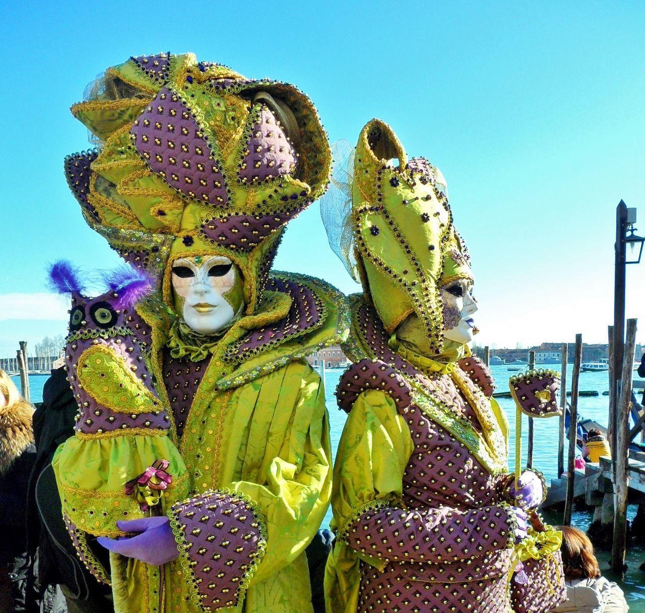 People Wearing Venetian Mask At Carnival