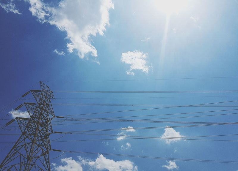 Cloud - Sky Outdoors Samsung Galaxy S7 Edge Blue Clouds Feeling Good! Blue And White Sky EyeEmNewHere Sky Silence Cables And Wires Cable Line EyeEmBestPics EyeEmbestshots Mycity Cable Electricity  Connection No People Low Angle View Nature Day Power Line  Power Supply