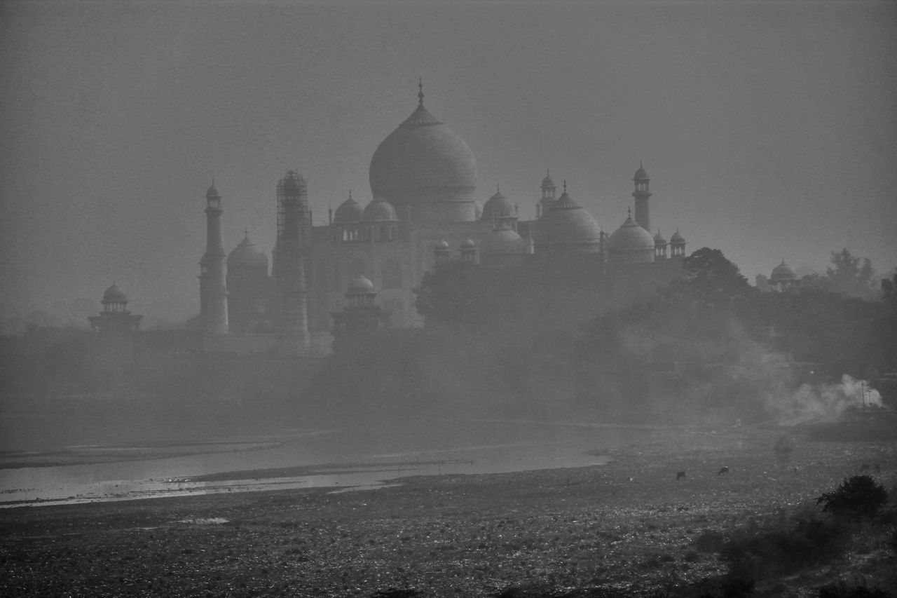 Facade & reality Architecture Built Structure Travel Destinations No People Outdoors History Day Ancient Dome Fog Tajmahal India Agra Mughals Pollution Waterpollution Garbage Yamuna Patiala Punjab Building Exterior Place Of Worship