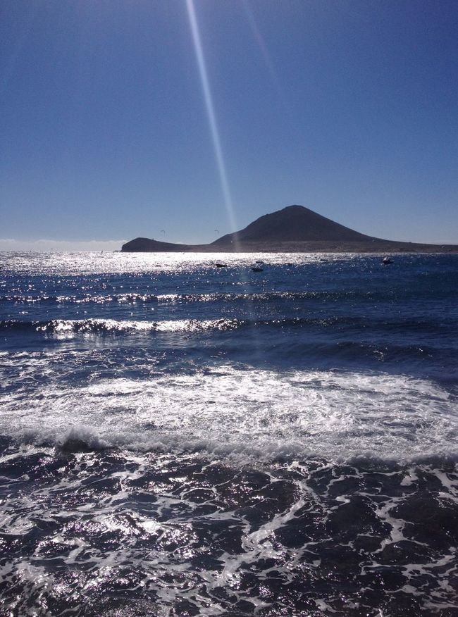 El Médano Tenerife Ocean Waves Mountain Roja Mountain Sunshine Sunrays Canary Islands Backgrounds Traveling Background Nature Sea Blue