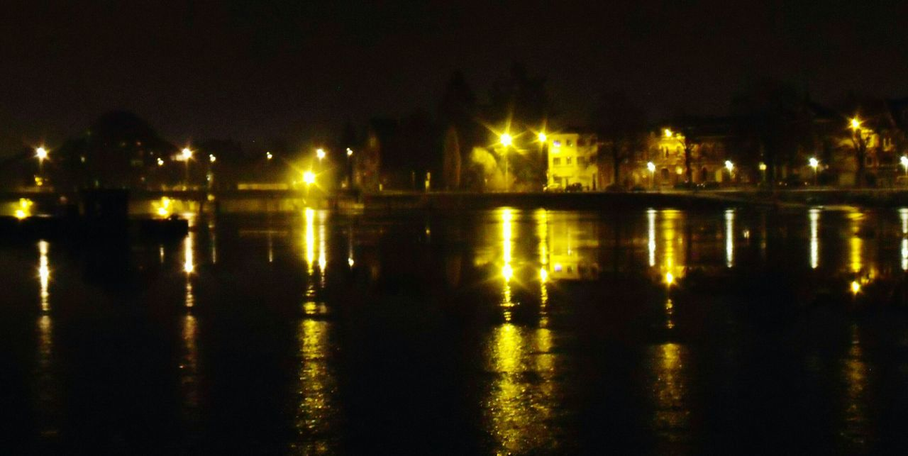 illuminated, night, water, reflection, no people, waterfront, outdoors, architecture, built structure, nature, sky
