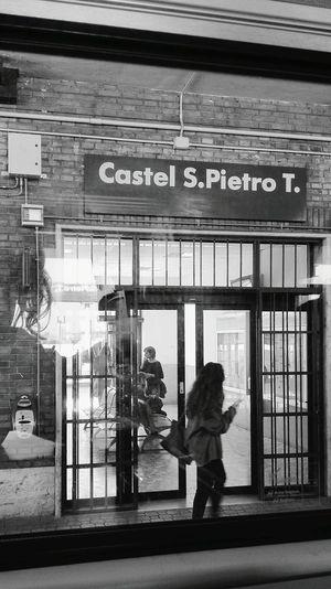 Castel San Pietro. Train Train Station Blackandwhite Goingto Bologna Public Transportation Reflection