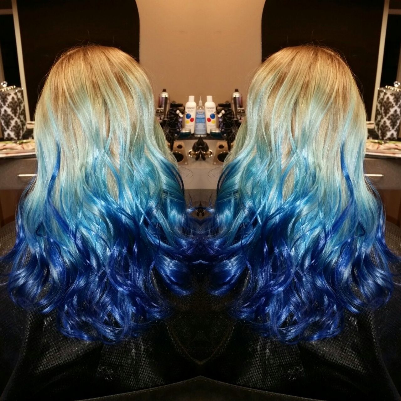 Ocean inspired hair goals from two weeks ago by yours truly. Dreamy! Hairstylist Hairdresser BlueHair Mermaidhair Hairgoals Beauty EyeEmNewHere Oceanographic One Person Futuristic Adults Only Indoors  People Adult Day