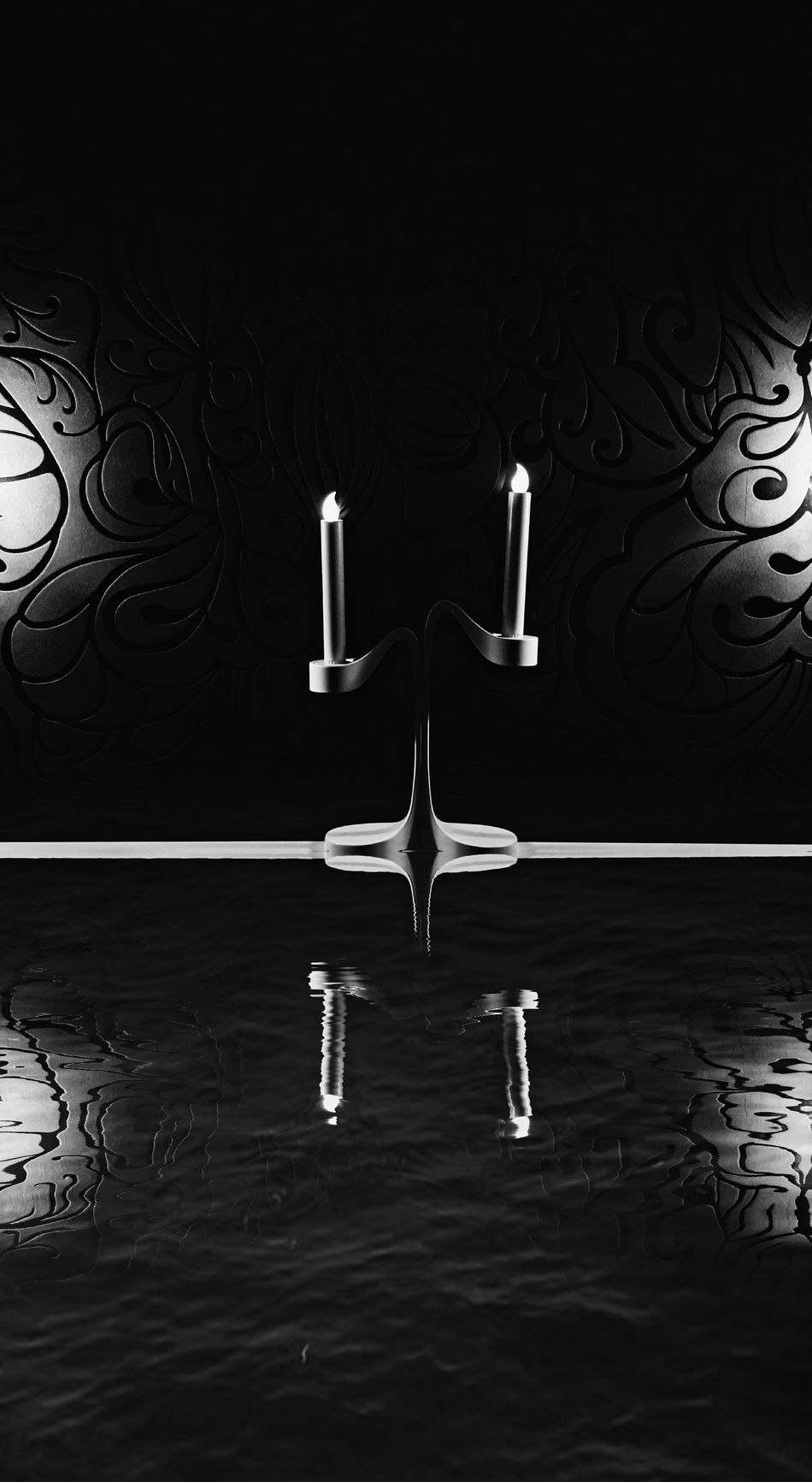 Water No People Black Background Indoors  Night Candles свечи электросвечи Blackandwhite Black And White Blackandwhite Photography Black & White чернобелое черно-белое черно-белое фото свеча вода отражение отражение в воде свет и тень Gothic