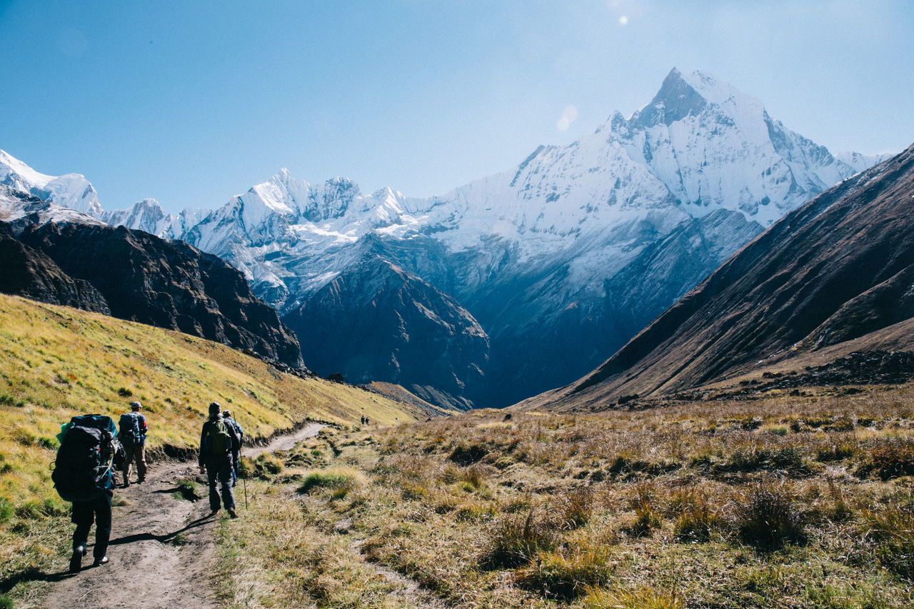 A 10-Day Trekking Adventure into Nepal's Annapurna Range Adventure Annapurna Backpack Beauty In Nature Hiking Hiking Himalaya Himalayas Journey Leisure Activity Lifestyles Mountain Mountain Range Mountaineering Mountains Nature Nepal Real People Rear View Scenics Snow Travel Trekking Two People Walking The Great Outdoors - 2017 EyeEm Awards