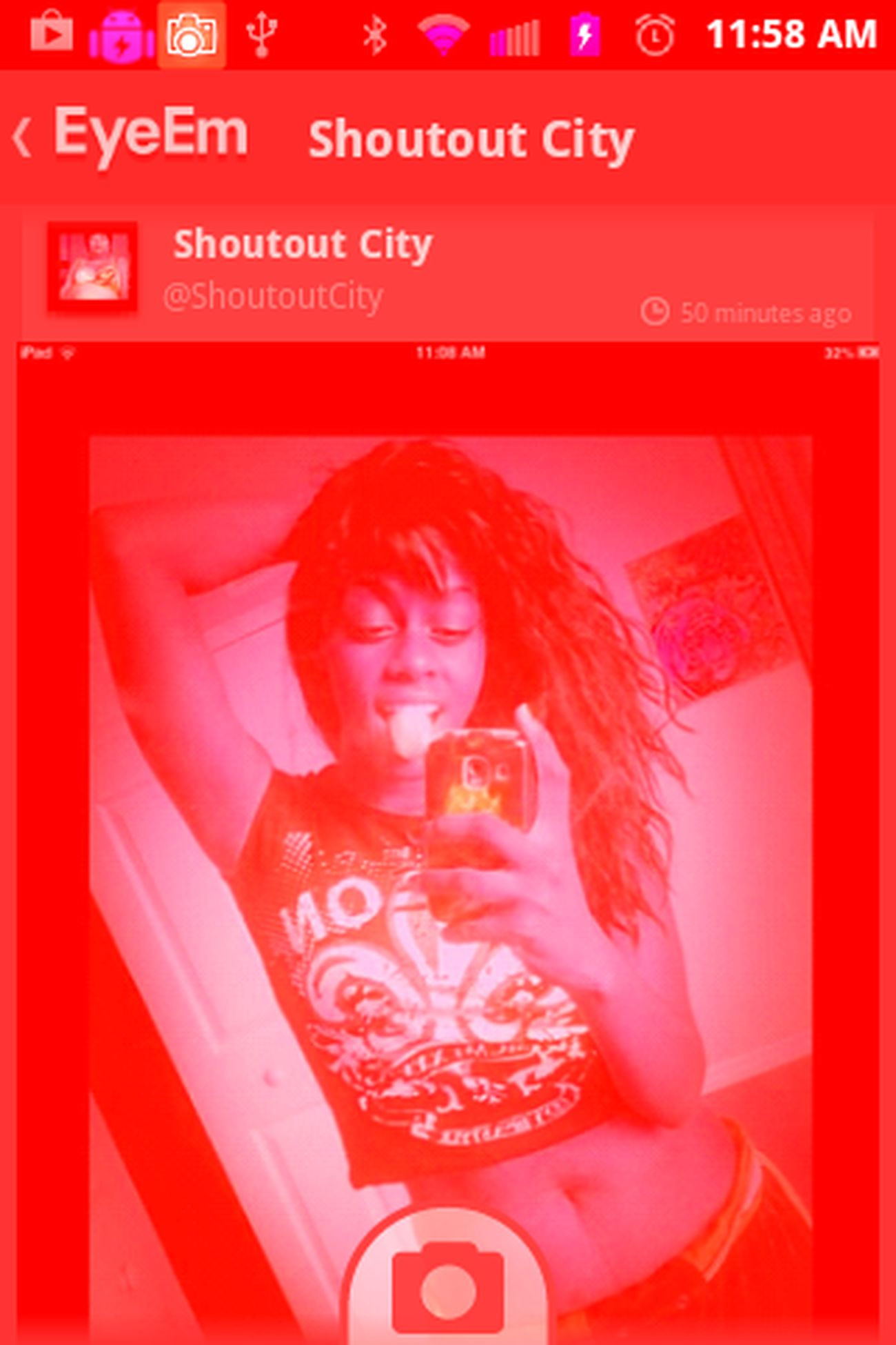 Ayy lol idk y the damn screen shot came out red tho lol they stealin people pics n shit -.- but ayy un asked for shout out lmao ^_^ Cute ShoutOut Thank You!! Shoutout City!!