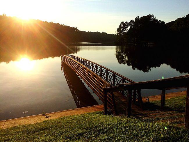 Sunset Beautiful Beautiful Nature Nature Lake Lake View First Eyeem Photo Woodenbridge Bridge Water Grass Amen