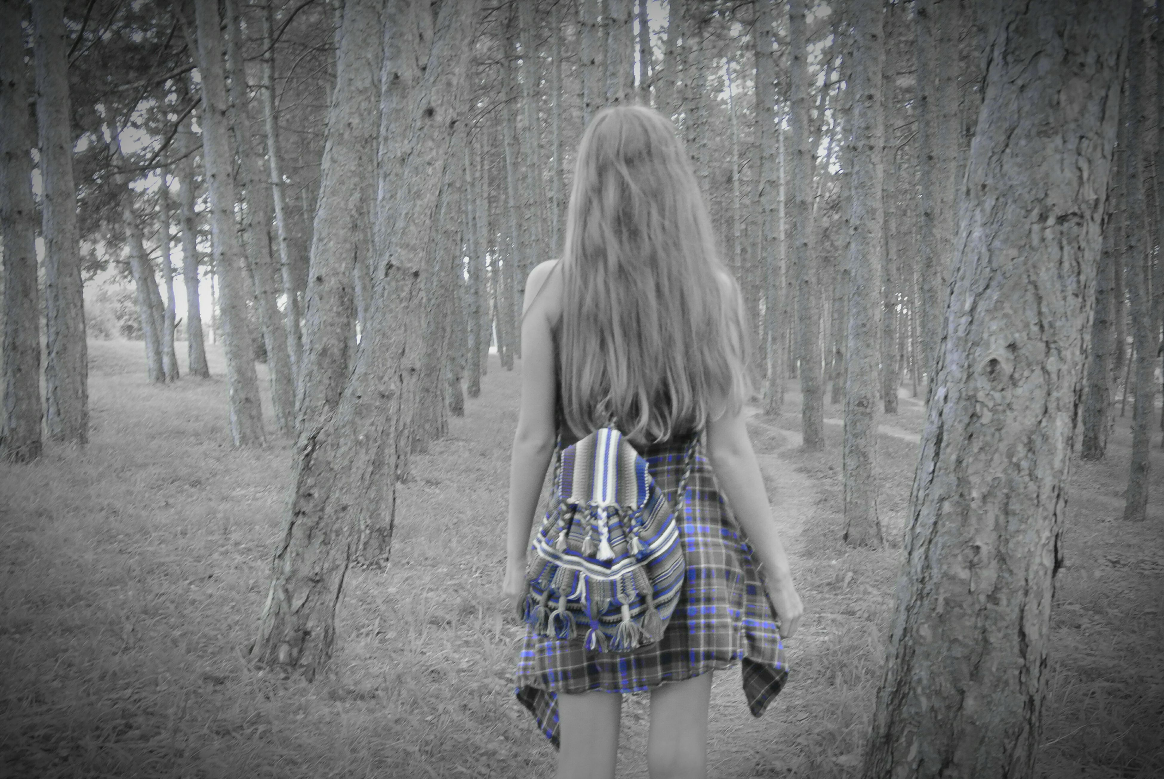 long hair, person, standing, rear view, tree, blonde hair, casual clothing, blond hair, straight hair, tranquility, remote, day, solitude, embracing, non-urban scene, nature, getting away from it all, tranquil scene