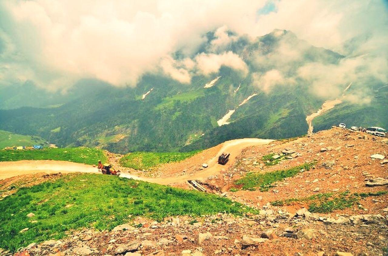 Winding Road Mountains Fog Manali India A Bird's Eye View