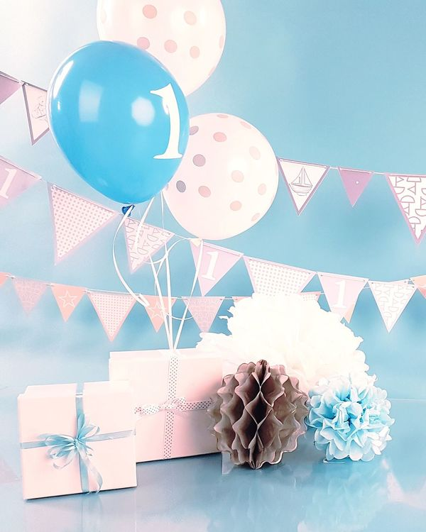 First birthday Boys Birthday Blues Blue Balloons Birthday Party Boys Parcels Presents Ribbon And Bows Blue And White Polka Dots Helium Balloon One 1st Birthday No People