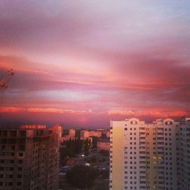 видизокна розовоенебо вечер тучи красота