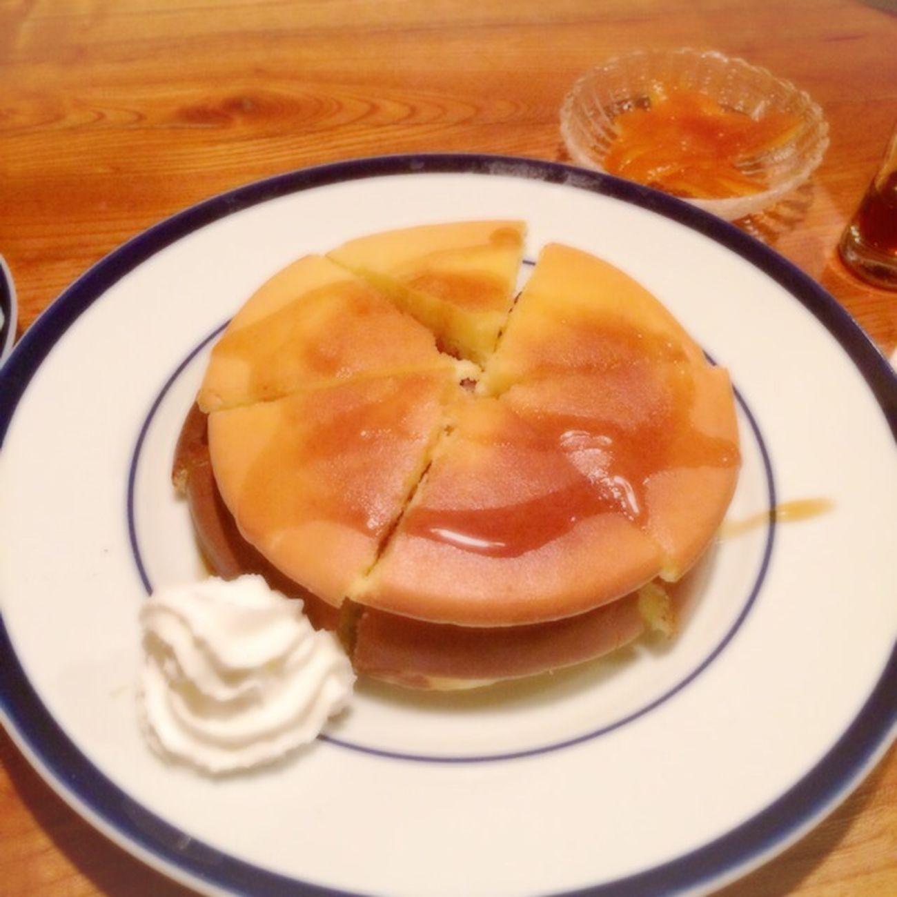 シンプルなホットケーキ 自家製オレンジピールと。@夜トンボロ