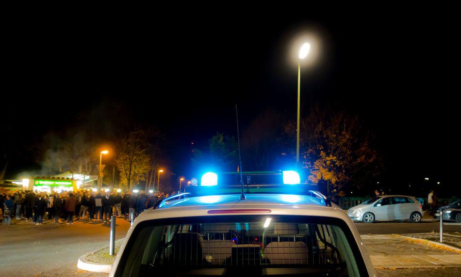 Blaulicht Blue Blue Monday Bluelight Car Illuminated Mode Of Transport Night No People Police Car Polizei Polizeiauto Polizeieinsatz Transportation
