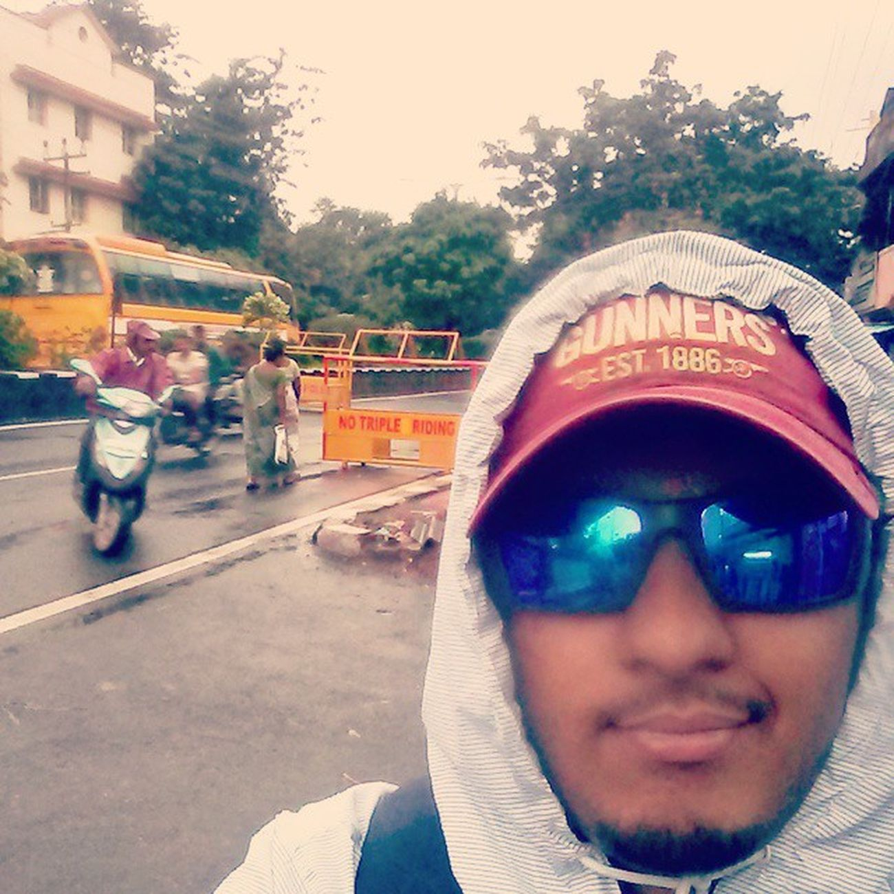 Tea amidst the Rain Pondicherry Monsoon Teatime Evenings Friends Mondays Adidas Oakley Wearethebest F4F Followme Food Instamood Foodie Selfie On the roads Traffic Bestfriend Medicine Lungs Goggles