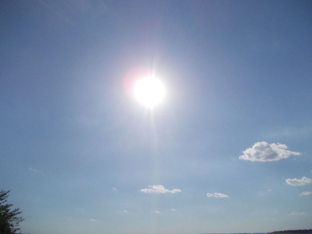 Sunny day Beauty In Nature Blue Bright Cloud Cloud - Sky Day Idyllic Lens Flare Low Angle View Majestic Nature No People Outdoors Scenics Sky Sun Sun And Clouds Sun In Clouds Sun In My Face Sun In The Sky Sunbeam Sunlight Sunny Tranquil Scene Tranquility