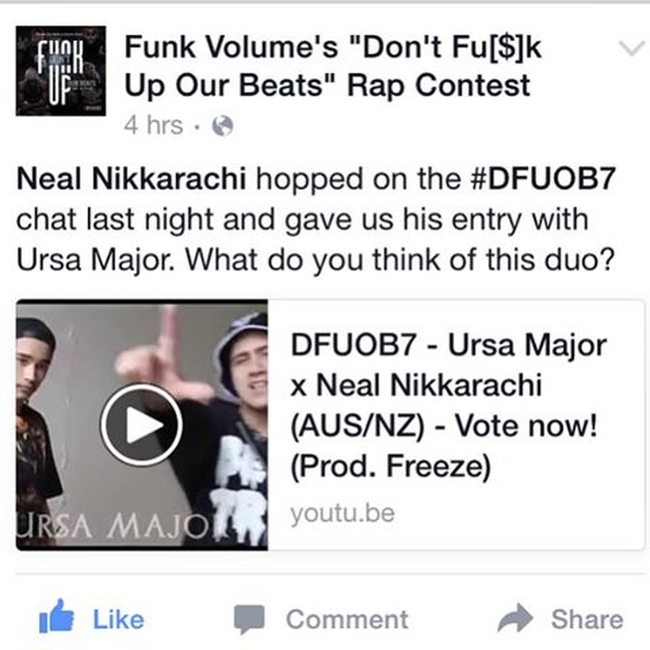 Myself & Ursa Major got out entry posted on the Don't Funk Up Our Beats page! Jarrem Benton told us he liked it! Funkvolume Dfuob7 Jarrembenton Jarren Benton Funk Volume Ursamajor Nikkarachi Voteforus DOPE Destiny Music Rap HipHop