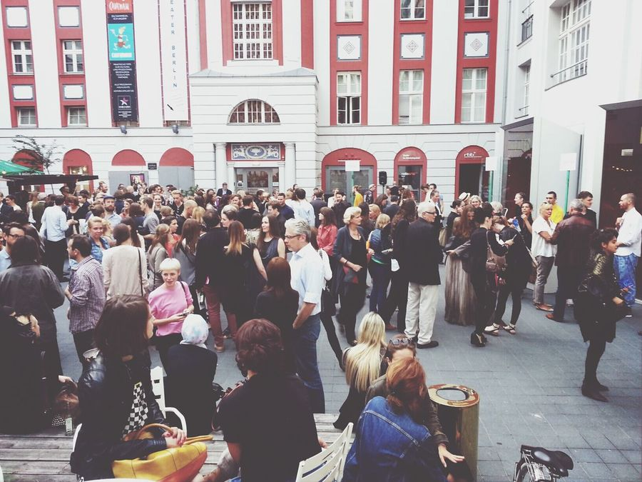 waiting for the doors to open to the UdK Schau13 at Fashion Week Berlin