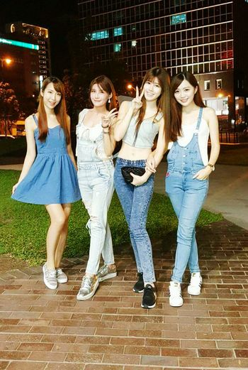 China Friendship Full Length Togetherness Young Adult Young Women Standing People Bonding Only Young Women Smiling Adult Adults Only Enjoyment Leisure Activity Happiness Portrait Outdoors Night