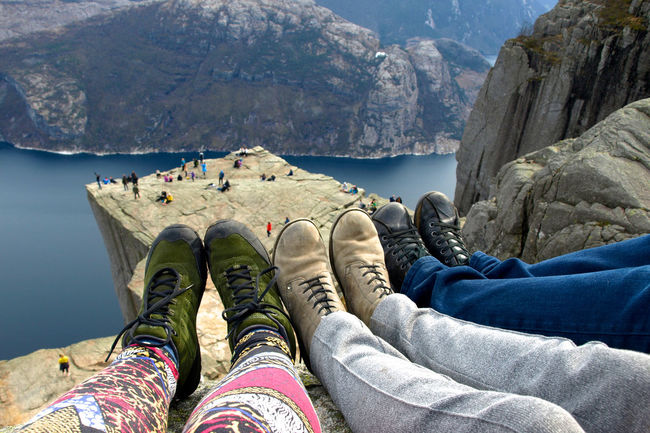 Adventure Casual Clothing Climbing Footwear Friends Hiking Hipster Leisure Activity Lifestyles Lysefjord Mountain Mountain Range Norway Outdoors Personal Perspective Preikestolen Shoes Tourist Vacations