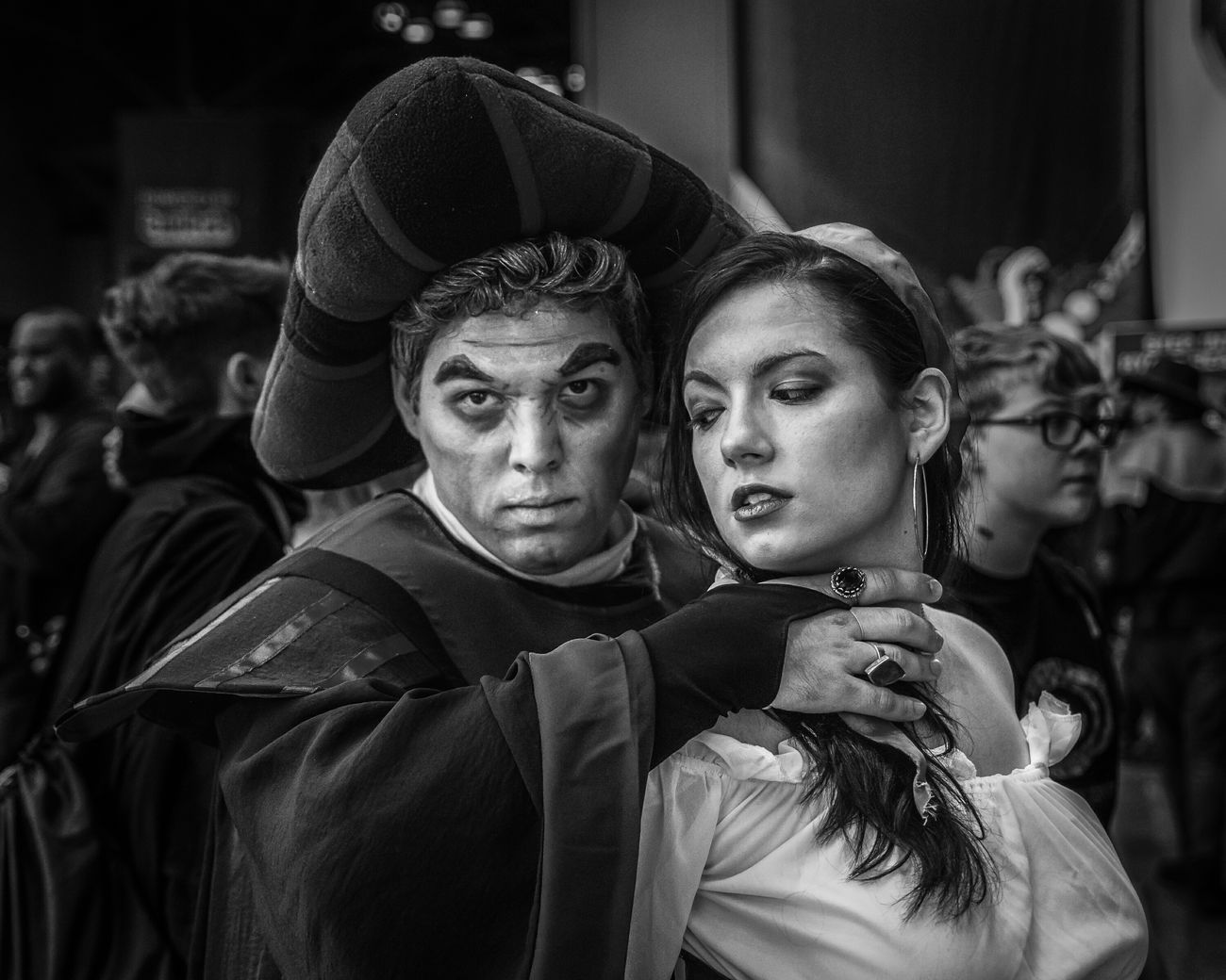Frollo & Esmeralda | New York Comic Con | 2014 The Portraitist - 2015 EyeEm AwardsBlackandwhite Black And White Monochrome Manhattan Cosplayer Cosplaying Frollo NYC Photography New York City