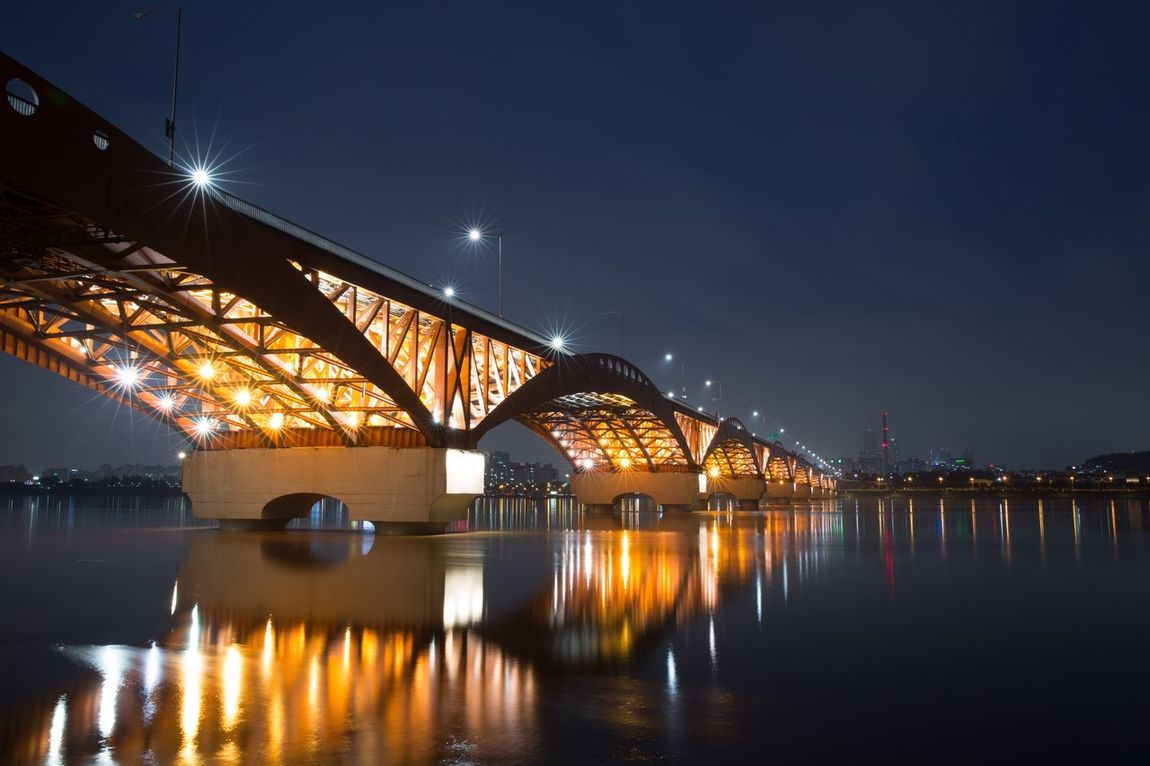 Sungsan Bridge Han River Bridge Seoul, Korea Illuminated Bridge - Man Made Structure Architecture Night Reflection Built_Structure Water Connection Transportation City Building Exterior Travel Destinations Sky River Outdoors Waterfront Cityscape No People Harbor Nightview Fresh On Market 2016