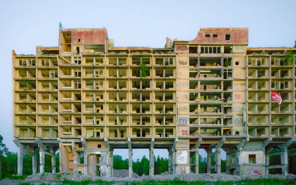 Abandoned Apartments Architecture Arrested Development Blue Building Built Structure Decay Dusk Façade Graffiti Halted Huge Low Angle View Massive Outdoors Sky Soviet Unfinished Urban Decay