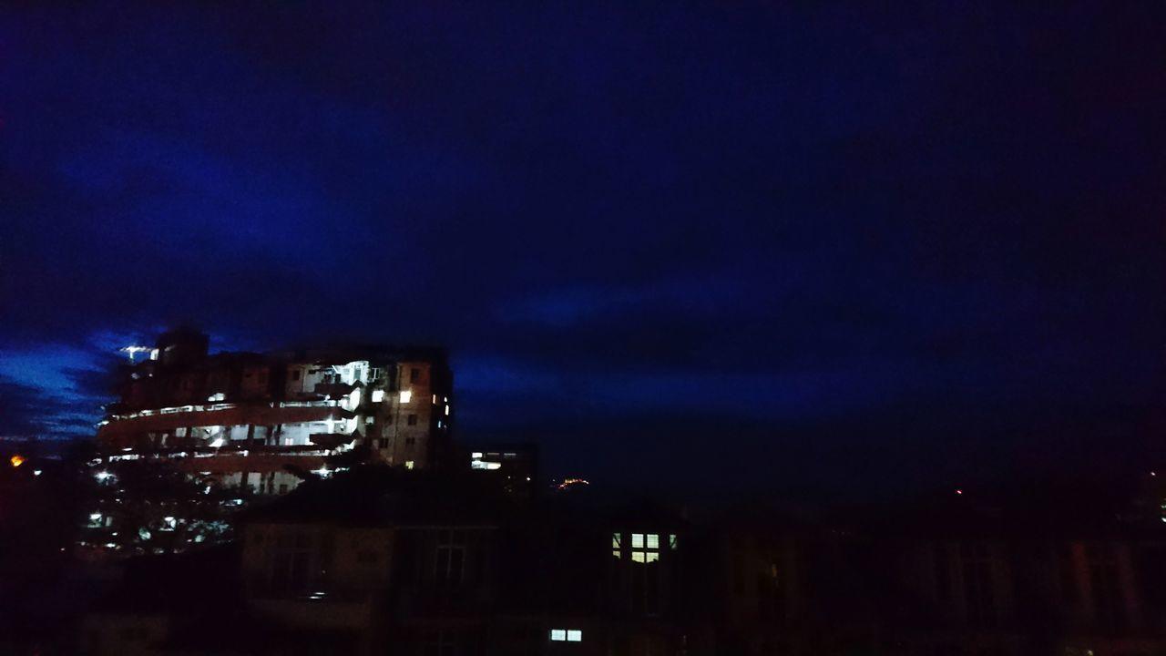Night Sky Dark No People Cloud - Sky Dusky Sky Duskview Dusk Light Apartment Building Exterior Residential Building Sunset Dusk Tranquil Scene Tranquility Illuminated