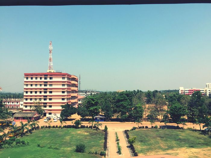 Building Exterior Clear Sky Architecture Tree Built Structure City Travel Destinations Outdoors Day No People Sky Cityscape Srinivas college mangalore