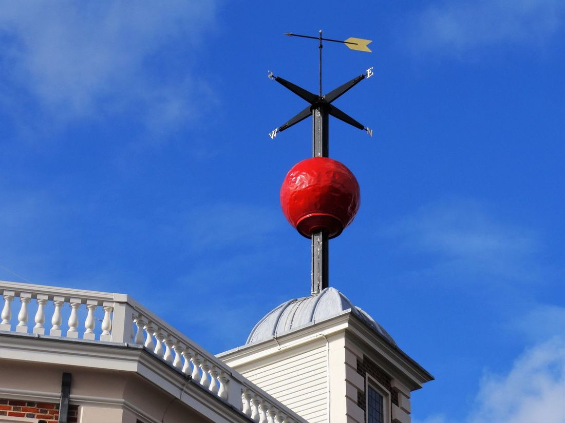 Prime Meridian Architecture Building Exterior Built Structure Day England Greenwich London London Lifestyle Low Angle View Map Navigation Navigator  No People Outdoors Prime Meridian Red Red Sky Sky And Clouds