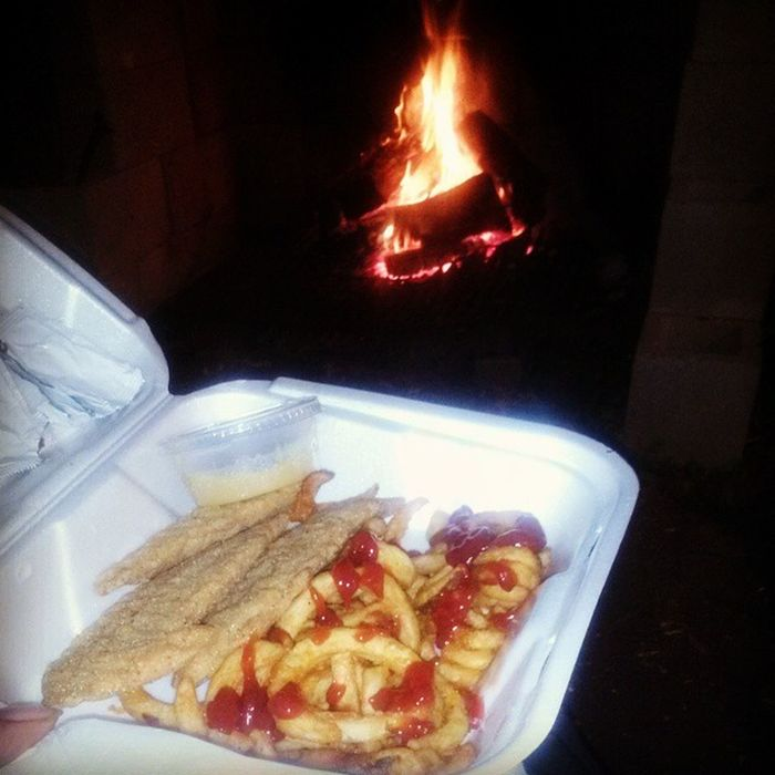 Chickentenders CurlyFries and a Bonfire way to end a nice relaxing night