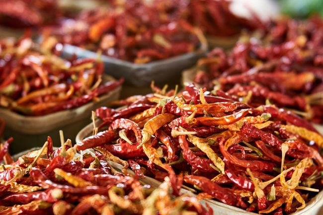 Caliente!!!! Chilies Close-up Farmers Market Food Freshness Healthy Eating Red Selective Focus Spice Spicy Spicy Hot