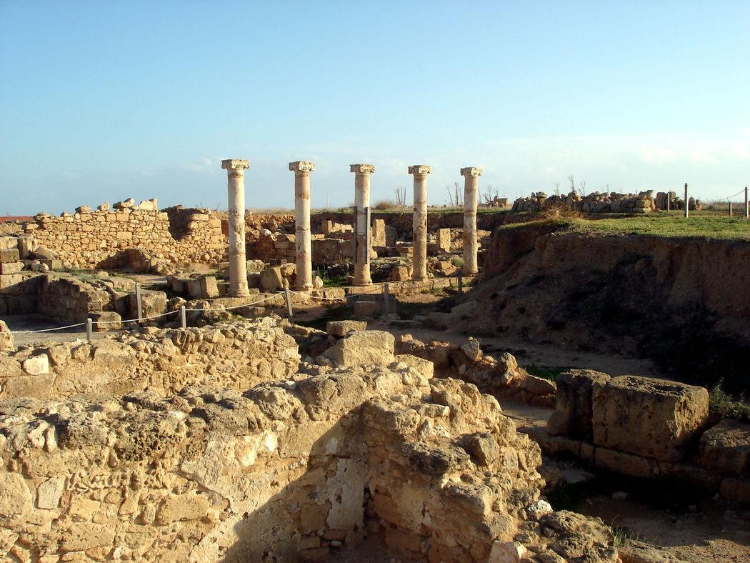 Antika Cyprus Excavation Old Buildings Stone Stone Pillars