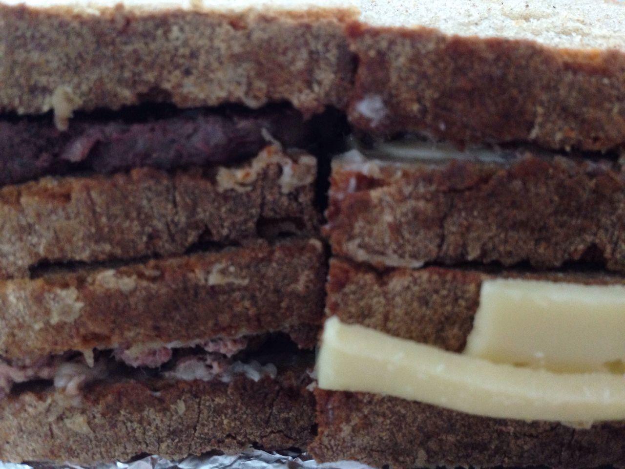 SCHNITTE Brot Bread Cheese Butter Frühstück Mittag Sausage Sausagebreakfastsandwich Liverwurst