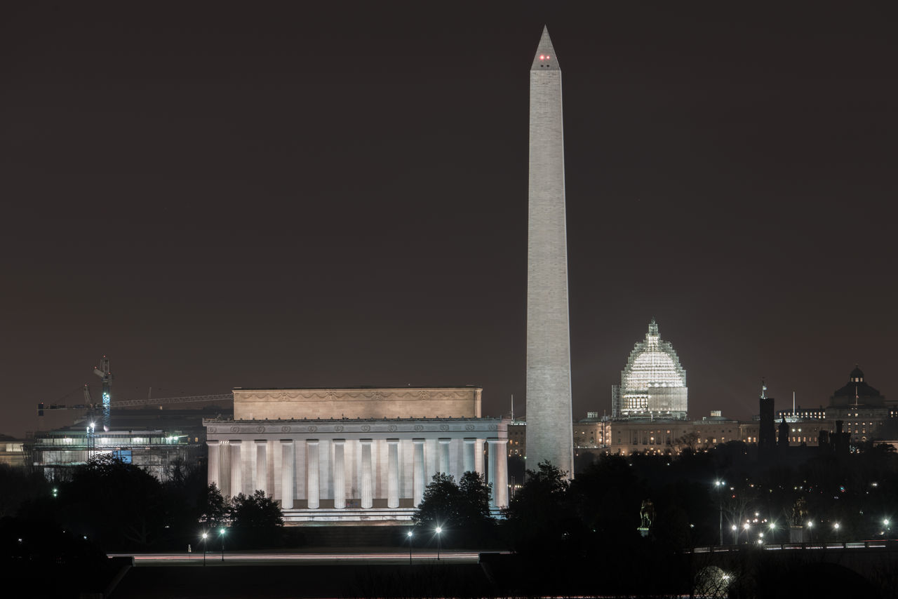 The Lincoln Memorial, Washington Monument and U.S. Capital Building at night in Washington, D.C. Capital Lincoln Memorial National Mall Night Photography United States US Capital Washington DC Washington Monument